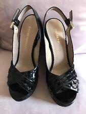 Emporio Armani Wedge Platform Black Patern Leather Size 37/6'5  Italy Women
