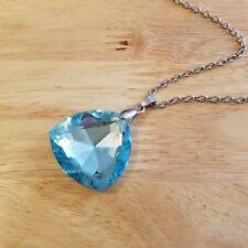 Light Blue Rhinestone Necklace, silver tone chain with rhinestone pendant