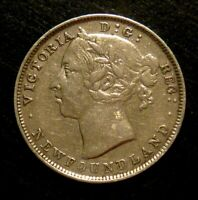 1899 NEWFOUNDLAND 20 CENTS (LARGE 9) SILVER.925 - VERY FINE+ Cond!