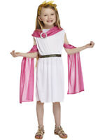 Girls Greek Goddess Costume Roman Toga Pink Cape Book Week Child Fancy Dress