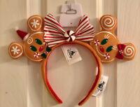 Disney Mickey & Minnie Mouse Gingerbread Christmas Ears Headband Bow