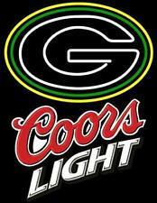 "Green Bay Packers Coors Light Neon Lamp Sign 20""x16"" Bar Light Beer Glass"