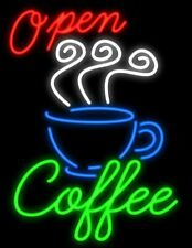 "New Open Coffee Teas artwork Real glass Neon Sign 32""x24"" Beer Lamp Light"