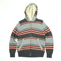 Eddie Bauer Fleece Lined Sweater Jacket Mens SMALL Hooded Lambswool Striped