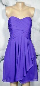 DAVID'S BRIDAL Violet Short Crinkle Chiffon Strapless Dress 10 Front Cascade