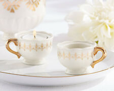 152 Classic Gold Teacups and Tealights Miniature Candles Wedding Favors