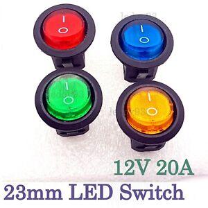 Round Rocker Switch 12V 20A ON/OFF LED illuminated Car Dashboard Dash Boat Van