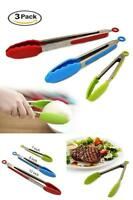 Lot 3 Kitchen Silver Tongs Stainless Steel Silicone Serving Salad Bbq Grill Tong