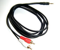 1.5 Metre 3.5mm Jack Plug to TWIN 2 x RCA PHONO Audio Lead GOLD CABLE PC TV AUX