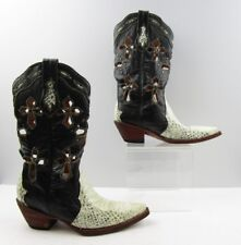 Ladies Ferrini White Black Leather Snake Print Cut-Out Cowboy Boots Size: 6.5 B