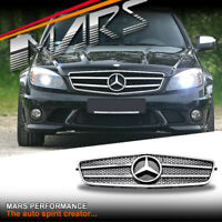 Chrome Black C63 AMG look Front Bumper GRILLE GRILL for Mercedes-Benz W204 07-10