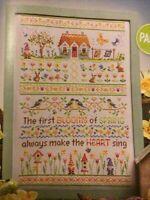 (M) Spring Flower Garden Sampler Gnome Birdhouse Rabbit Bird Cross Stitch Chart