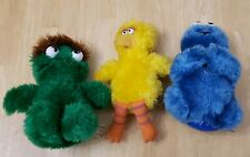 Vintage 1983 Applause Oscar The Grouch Big Bird cookie monster Plush lot of 3