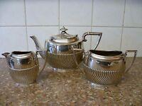 A VINTAGE,THREE PIECE SILVER PLATED TEA SERVICE 'ROBERT PRINGLE & SONS'
