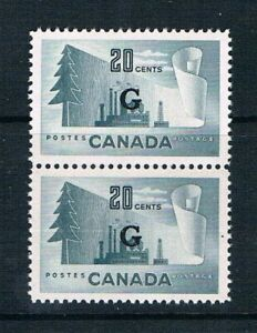 """Canada 1952 Official - 20¢ Paper Mill """"Pair"""" Ovrptd """"G"""" SC O30 [SG O194] USED F5"""