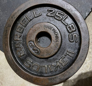 "1x 25 LB CAP 2"" Standard Olympic Hole Iron Weight Plate. Vintage.One Plate Only"