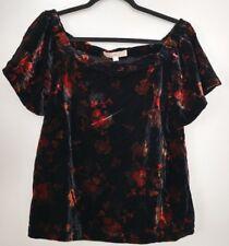 Ann Taylor Loft Black Velvet Fall Floral Off Shoulder S/S Top Blouse Women's PM