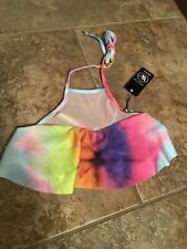 Wildfox Mermaid High Neck Mesh  Tie Dye Bikini Top Bathing Suit Small NWT (110)