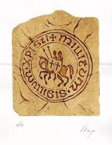 Llop - sello Templario - grabado xilografia 35x25