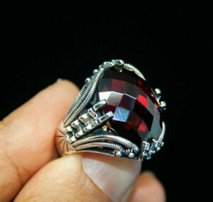 AAA QUALITY STERLING 925 SILVER JEWELRY FACATED RED RUBY MEN'S RING