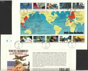 1992 WWII 2nd Year Sc 2697 a-i  FDC sheet of 10, Fleetwood