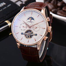 44mm Corgeut White Dial Rose Gold Case mechanical Moon Phase Automatic Watch 017