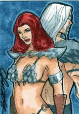 Breygent Red Sonja Color Sketch Card by Chris Foulkes