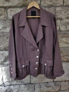 UK20-22 VINTAGE 80s SLOUCH LINEN JACKET m.o.pearl buttons Open End label