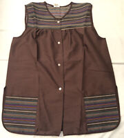 NWOT! Vintage Artistic Creations Brown Smock Apron Snap Buttons Medium.