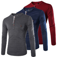 MENS COTTON CASUAL Autumn Long Sleeve Henley Shirts Slim Fit T Shirt Top Tee