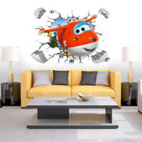 Super Wings Plane Wall Sticker Cartoon Decal Mural Kids Bedroom Decor Xmas Gift