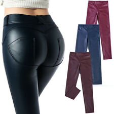 Ladies Womens Wet Look PU Leather High Waist Leggings Skinny Pants PVC Trousers
