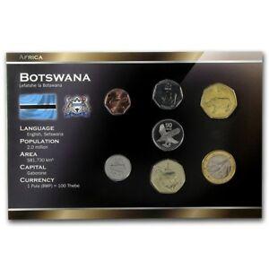 BOTSWANA 7 COINS SET: 5, 10, 25, 50 THEBE, 1, 2, 5 PULA 1991-2008 UNC