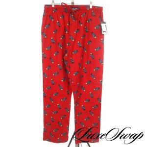 NWT Polo Ralph Lauren Red Allover USA American Flag Bear Flannel Pajama Pants