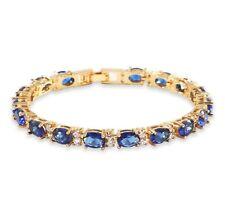 Yellow gold finish Blue Sapphire With Created Diamond tennis bracelet
