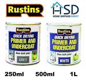Rustins Primer & Undercoat Wood MDF White/Grey Quick Dry Under Coat Paint Base