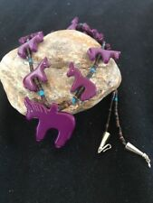 Navajo Sterling Silver Horse Fetish Stabilized Sugilite Heishi Necklace Pendant