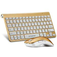 2.4GHz Wireless Keyboard and Optical Mouse Combo for Mac OS PC Laptop Gold P5V8