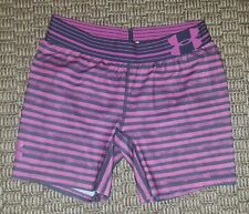 Under Armour girls pink gray striped fitted shorts size Youth Large