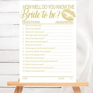 BRIDAL SHOWER HENS NIGHT GAME :  HOW WELL DO YOU KNOW THE BRIDE TO BE CARD GAME