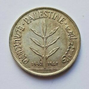 Palestine Coin 100 Mil Mils 1942 KM7 720 Silver XF British Mandate In Israel