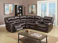 Living Room 3pc Motion Sectional Loveseat w Console Corner Wedge Recliner Brown