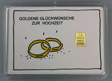 1 Gramm Gold 999,9 + Zertifikat ► 1g Goldbarren ► Hochzeit Ringe Geschenk