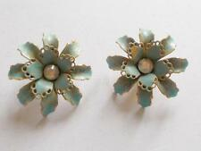 VINTAGE 1950's BLUE ENAMEL AURORA BOREALIS GLASS CRYSTAL FLOWER DAISY EARRINGS