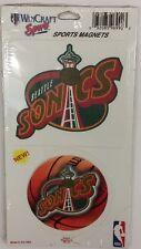 NBA Seattle Supersonics 2 Piece Die Cut Magnet Set, NEW