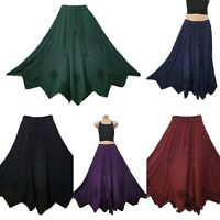 Maxi Skirt Medieval Handkerchief Hem Rayon Embroidered One Size 14 16 18 20 22