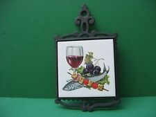 6  INCH WINE FISH GRAPES  CAST  IRON  TRIVET  HOT  PLATE CERAMIC    AWESOME