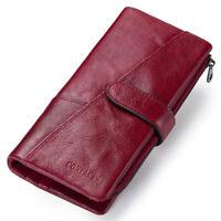 Genuine Leather RFID Long ID Wallet Men/Women Trifold Slim 18 Cards Holder Purse