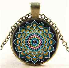 Vintage Peacock Mandala Photo Cabochon Glass Bronze Chain Pendant  Necklace