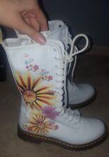 RARE VINTAGE Dr Doc Martens White Floral Flower Burst White 14-Eye Retro Boots